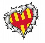Ripped Torn Metal Heart with Northumberland County Flag Motif External Car Sticker 105x100mm